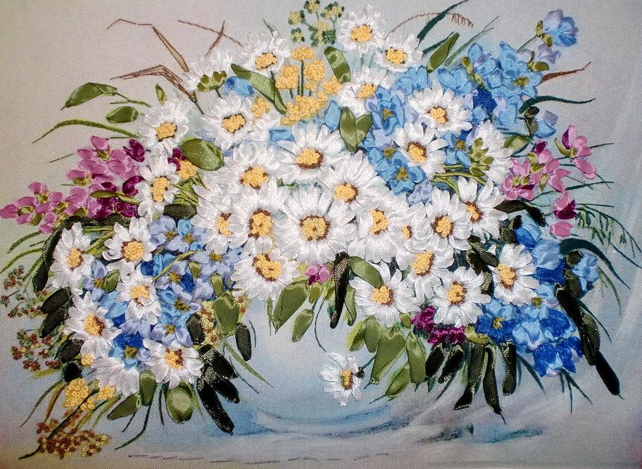 Набор вышивка лентами цветы