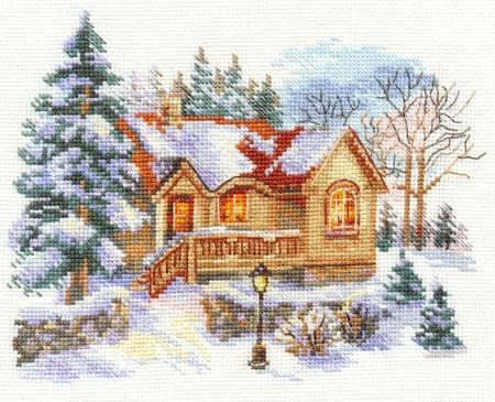 Схема вышивки февральский домик
