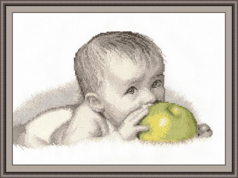 Вышивка для детей яблоко