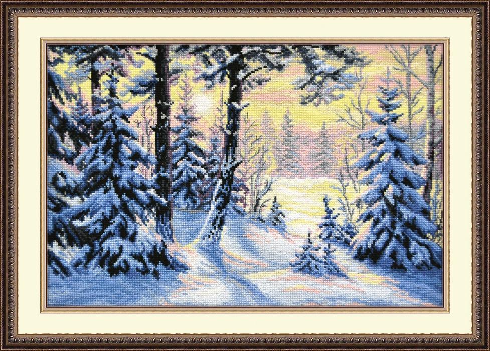Вышивка зима в лесу