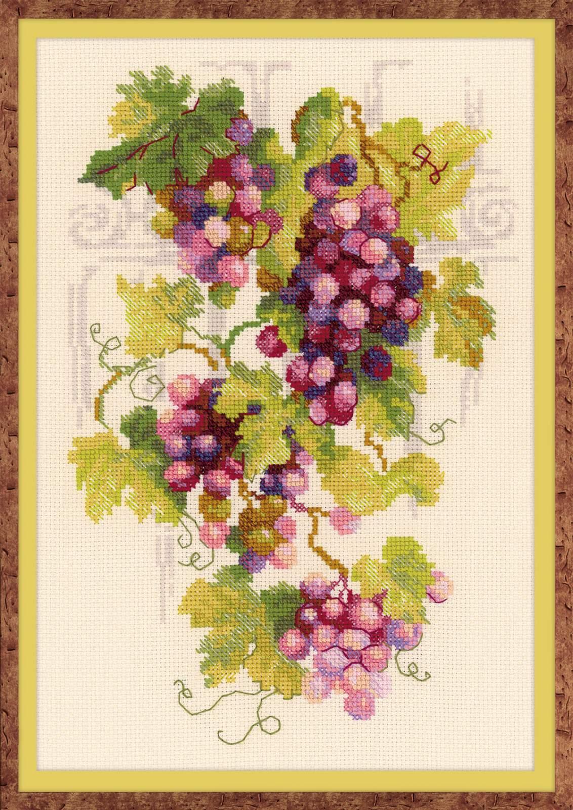 Вышивка крестом виноградной лозы